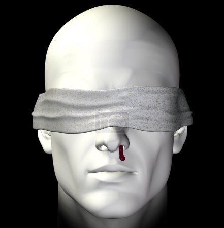 Blindfolded tortured man with bleeding nose. 3d il...