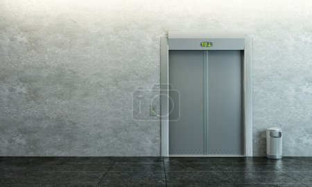 Modern elevator with closed doors...