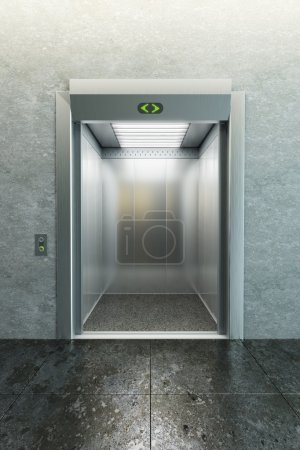 Modern elevator with open doors...
