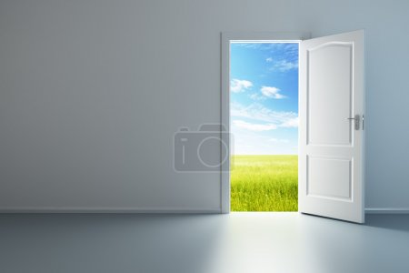 Photo for 3d rendering the empty room with opened door - Royalty Free Image