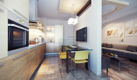 Photo for Modern kitchen interior 3d render - Royalty Free Image