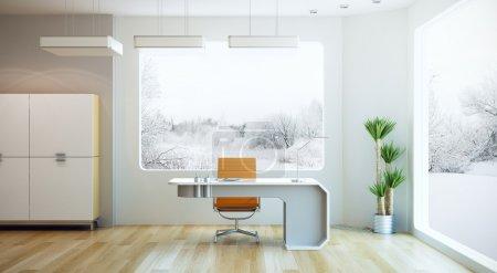 Photo pour Design d'intérieur de bureau moderne, rendu 3d - image libre de droit