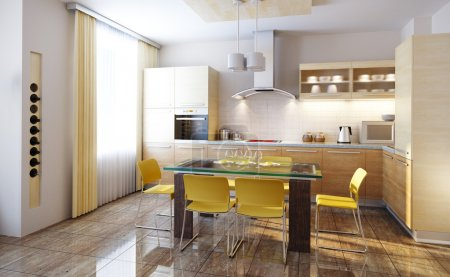 Photo for Modern design of a kitchen interior 3d render - Royalty Free Image