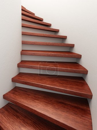 Photo for Spiral wooden staircase, 3d rendering - Royalty Free Image