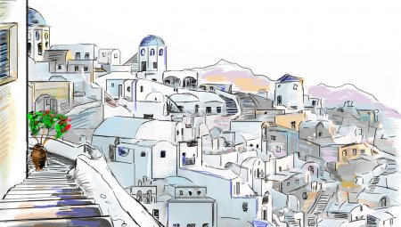 Photo for Drawing to the greek town - Royalty Free Image