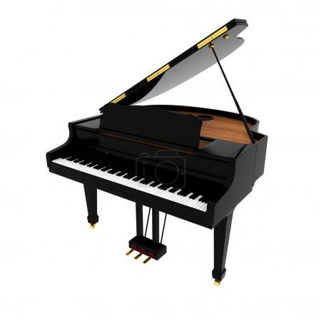 Photo pour Piano à queue noir isolé sur blanc - image libre de droit