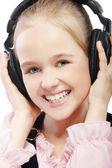 Kid girl in headphones