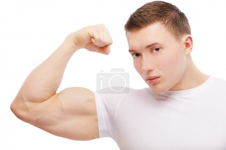 Bodybuilder guy demonstrating biceps