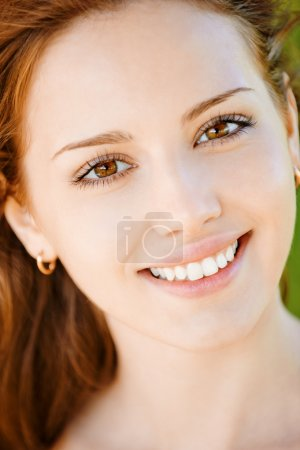 Photo for Portrait of beautiful smiling young woman with equal teeth close up. - Royalty Free Image