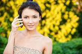 Girl speaks on phone