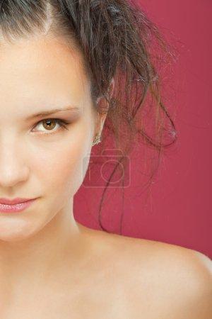 Half face of lovely girl