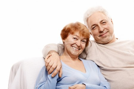 Photo for Elderly happy couple on a white background - Royalty Free Image