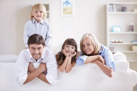 Photo for Happy young family with children at home - Royalty Free Image