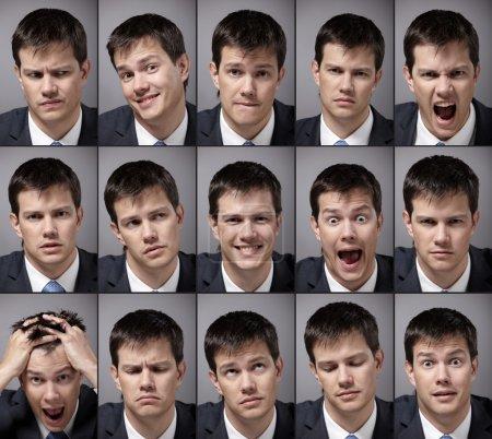 Photo pour Image homme émotionnel dans un costume d'affaires - image libre de droit