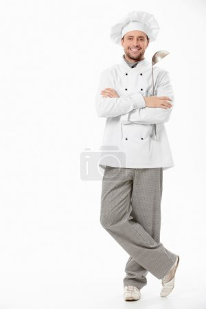 Photo for The cook with a ladle on a white background - Royalty Free Image