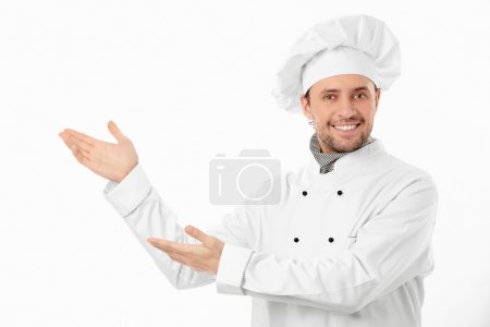 Photo for The smiling cook on a white background - Royalty Free Image
