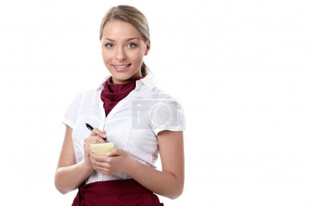 Photo for An attractive young waitress on a white background - Royalty Free Image