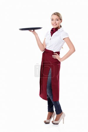A girl with a tray