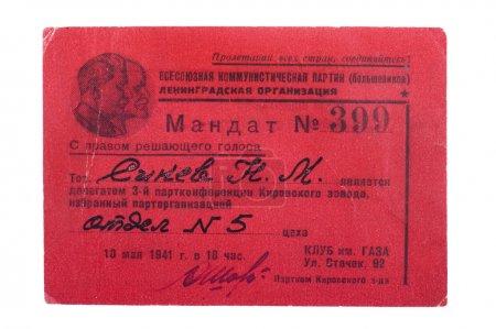 Photo pour Le mandat de la réunion des délégués du parti communiste - image libre de droit