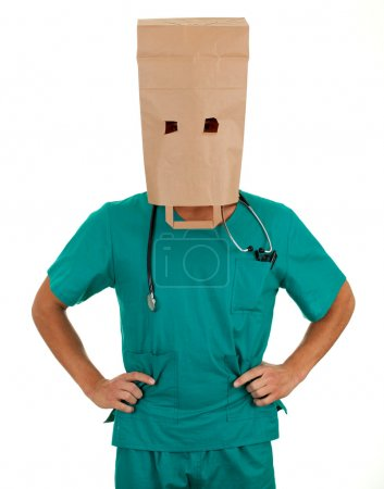 Doctor with paper bag on head