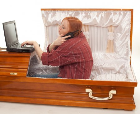 Woman and coffin