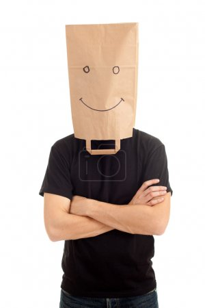 Man witrh paper bag on head