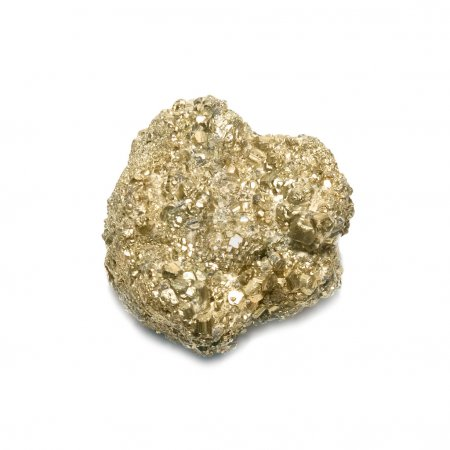 Nugget on fool's gold isolated on white....