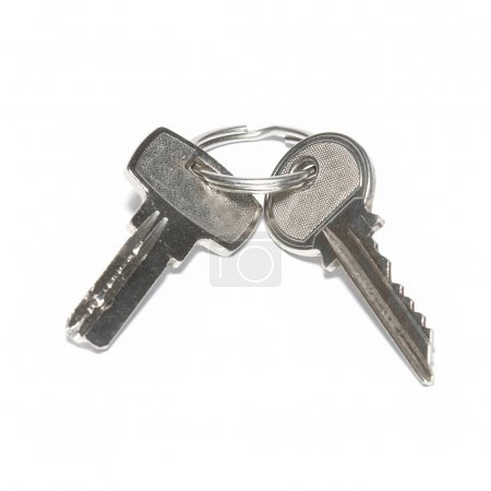Photo for Two silver keys isolated on white background - Royalty Free Image