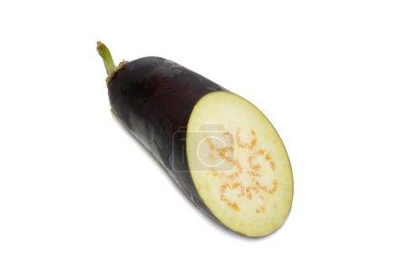 Sliced purple aubergine isolated on white.