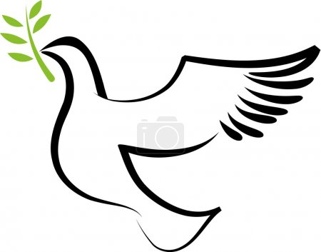 Photo for A free flying vector white dove with olive branch - Royalty Free Image