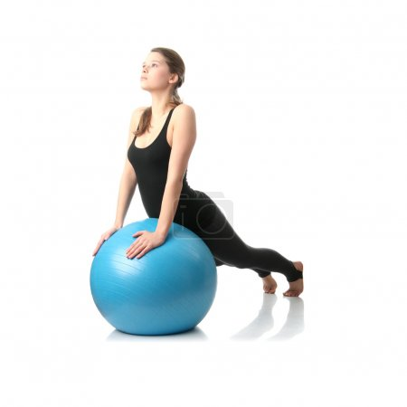 Woman during fitness time with ball