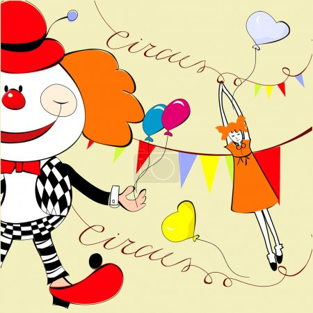Illustration for Circus with happy clown - Royalty Free Image