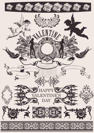 Illustration pour Set de Vector. Éléments de Design de Saint-Valentin. Éléments pour la décoration de la Page - image libre de droit