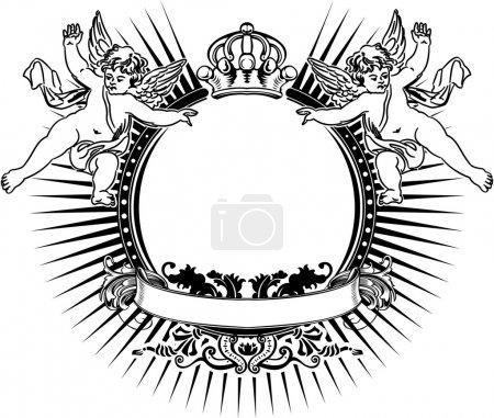 Illustration pour Signe fleuri vintage unicolore-duo-anges - image libre de droit
