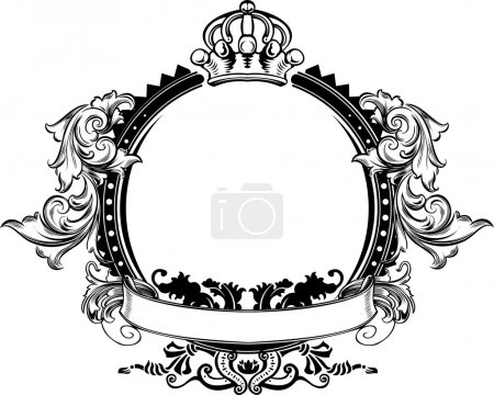 Illustration for One Color Crown Vintage Ornate Curves Sign - Royalty Free Image