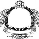 One Color Crown Vintage Ornate Curves Sign...