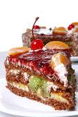 Fruit cake with desert cherry
