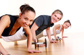 group doing fitness exercises