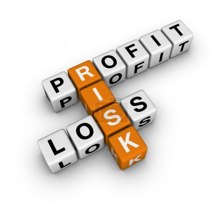 Photo for Profit, loss and risk (cubes crossword series) - Royalty Free Image