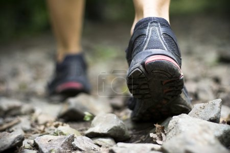 Photo for Sport shoes on trail walking in mountains - Royalty Free Image