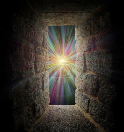 Photo pour Fenêtre Pierre mystique, entrée ou portail à un vortex pastel - image libre de droit