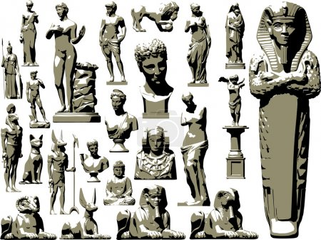 Great vector set of ancient statues