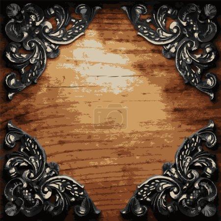 Illustration pour Ornement en fer sur bois fabriqué en vecteur - image libre de droit