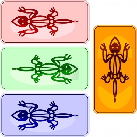 Vector lizards in american indians style