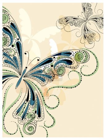 Illustration for Vector vintage butterflies with floral ornament. clipping mask, eps 10 - Royalty Free Image
