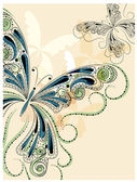 Vector vintage butterflies with floral ornament