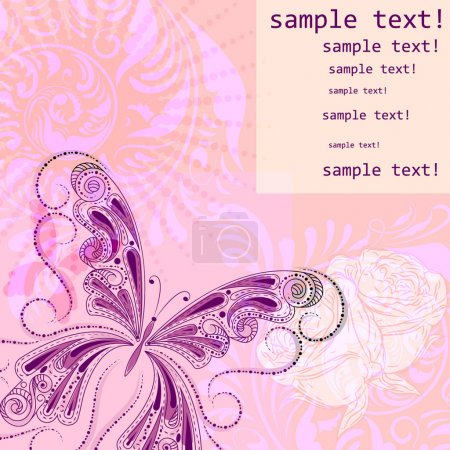 vector background with butterfly and flowers