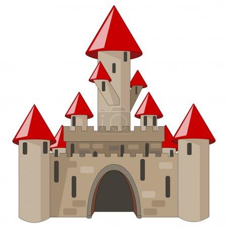 Cartoon castle isolated on white