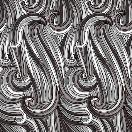 Photo pour Motif monochrome abstrait sans couture vectoriel, ressemble à des cheveux, de l'eau ou des fils, des masques de coupe - image libre de droit
