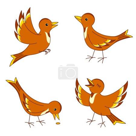 Set of four stylized birds. Vector EPS8....